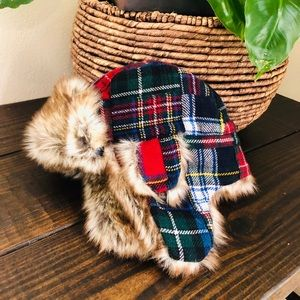 GAP kids L XL plaid faux fur trapper winter Hat